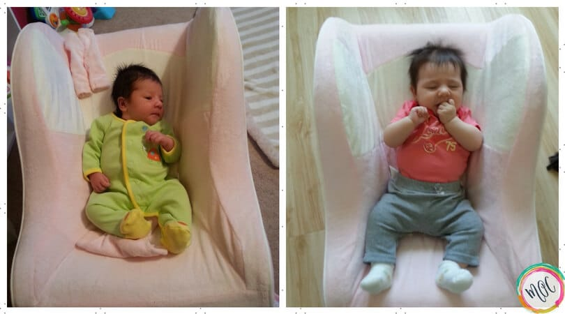 growth spurts in babies -example photo from month 1 to month 2. Baby is in the same day dreamer and is a couple of inches taller.