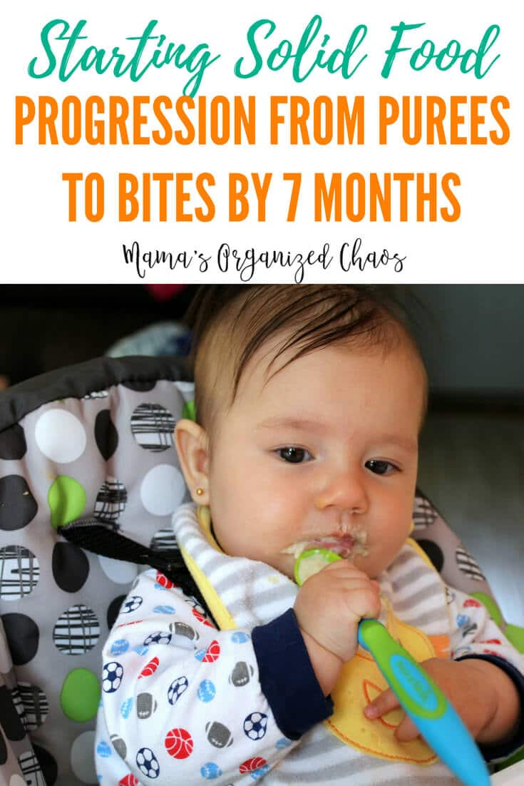 The progression of feeding solid foods to your baby. Starting at 4 to 6 months with purees, and working up to bite sized pieces by 7 months. #baby #solidfood #food #purees #feedingbaby