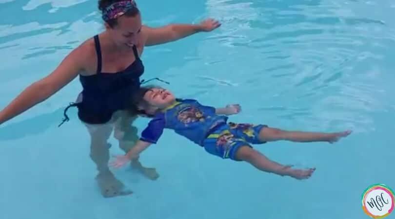 British Swim School- Caroline masters the starfish (back float)