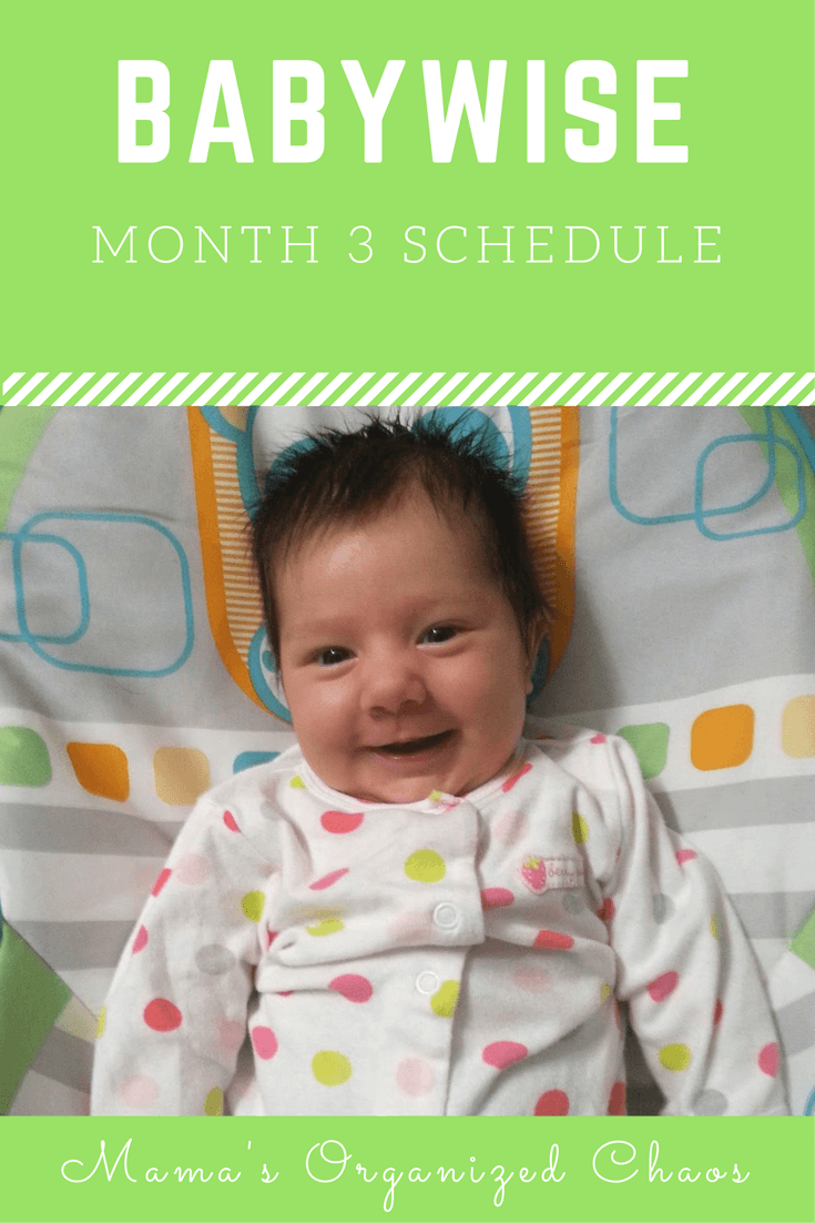 Babywise schedule for baby around 3 months of age. On this page you'll find schedules, information on naps, nighttime sleep, and more!