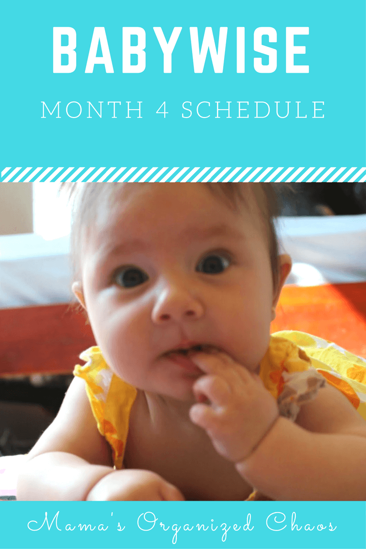 Babywise schedule month 4: for baby around 4 months of age. On this page you'll find schedules, information on naps, nighttime sleep, and more!