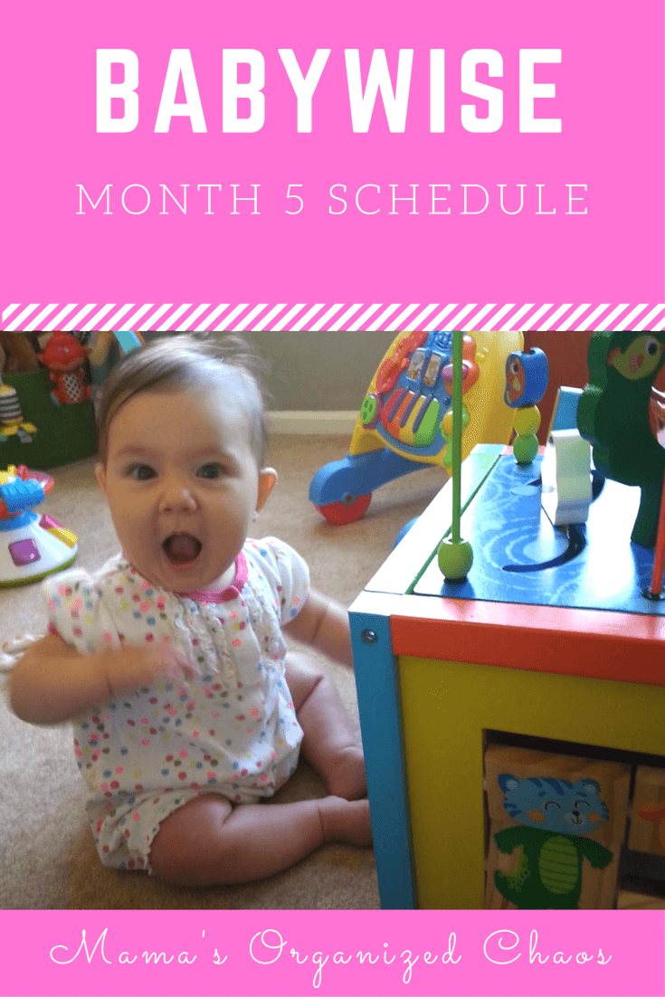 Babywise schedule month 5: for baby around 5 months of age. On this page you'll find schedules, information on naps, nighttime sleep, and more!