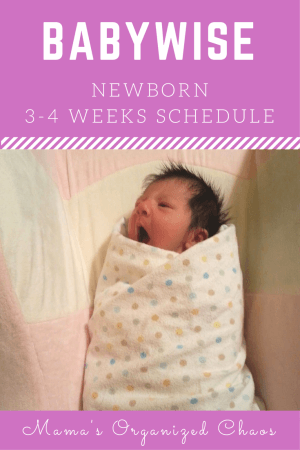 Babywise schedule for newborn 3-4 weeks of age. On this page you'll find schedules, information on naps, nighttime sleep, and more!