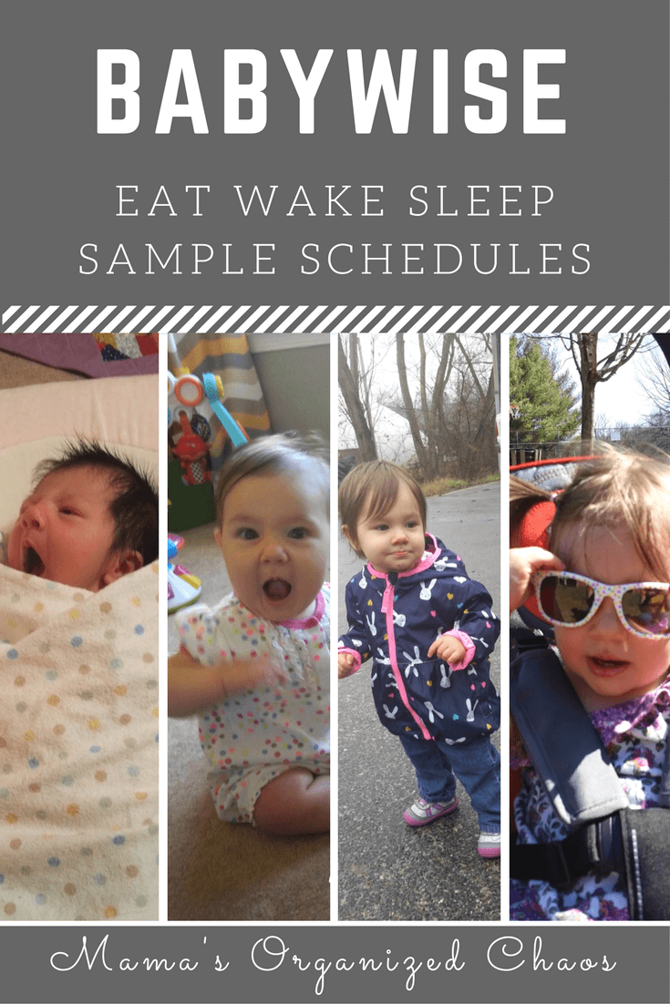 """Babywise schedules eat wake sleep sample schedules"" Newborn baby, sitting baby, walking, and talking one year old."
