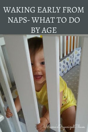 "Baby in crib smiling after waking early from a nap. ""waking early from naps- what to do by age"""