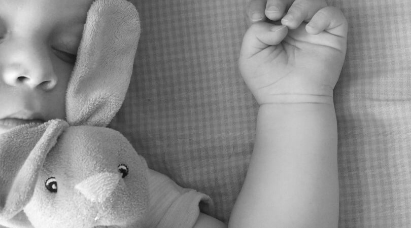 Baby sleeping with arm up next to stuffed bunny. This baby is extra tired and taking a long nap, so flexibility with babywise schedule is needed today.