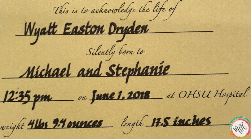 Birth certificate of Wyatt Easton Dryden born June 1, 2018