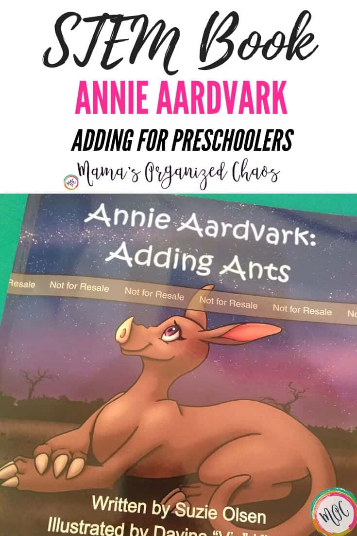STEM BOOK Annie Aardvark Adding for Preschoolers- front cover with the aardvark sitting under a night sky. #giveaway