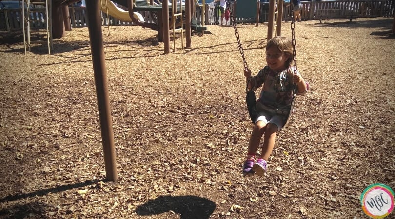 3 year old (big sister to April who died at birth), is swinging.