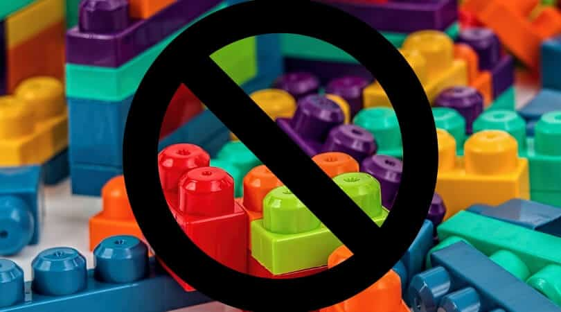 No symbol over duplos... no toys for toddler rest time