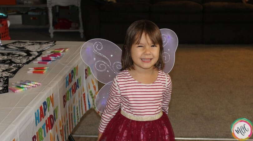 4 year old birthday party, Caroline dressed up in butterfly wings