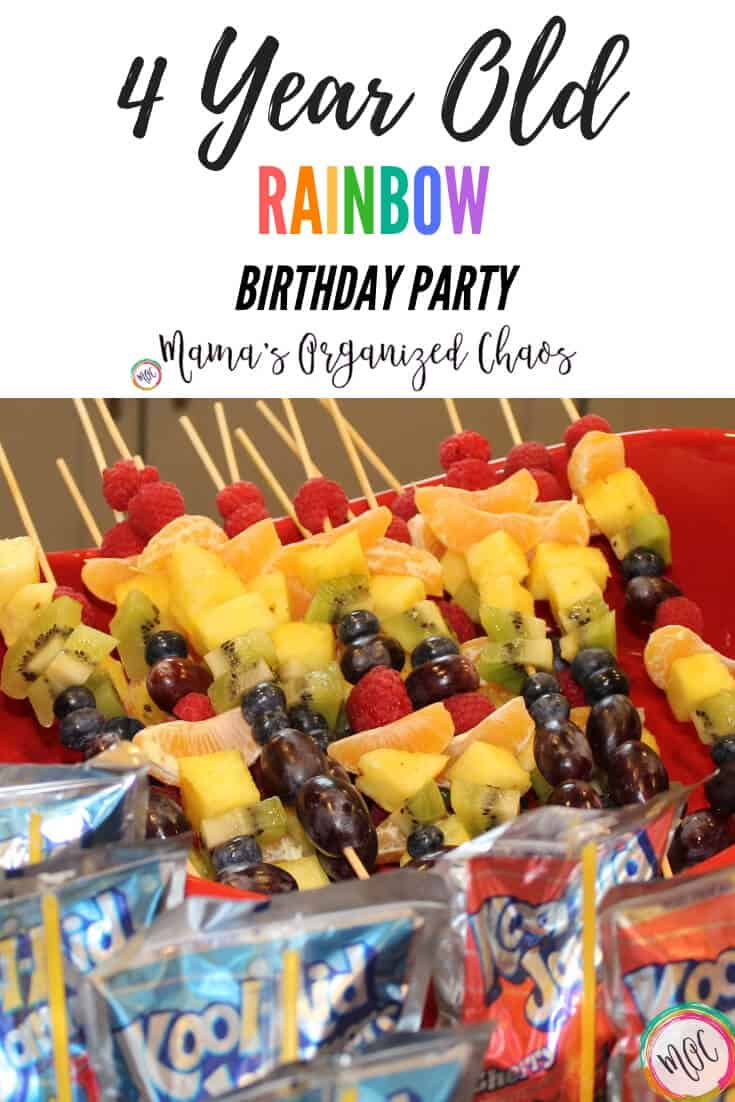 4 year old rainbow birthday party snacks