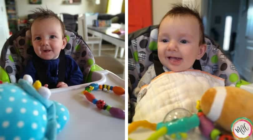 supported sitting 4 months old smiling baby