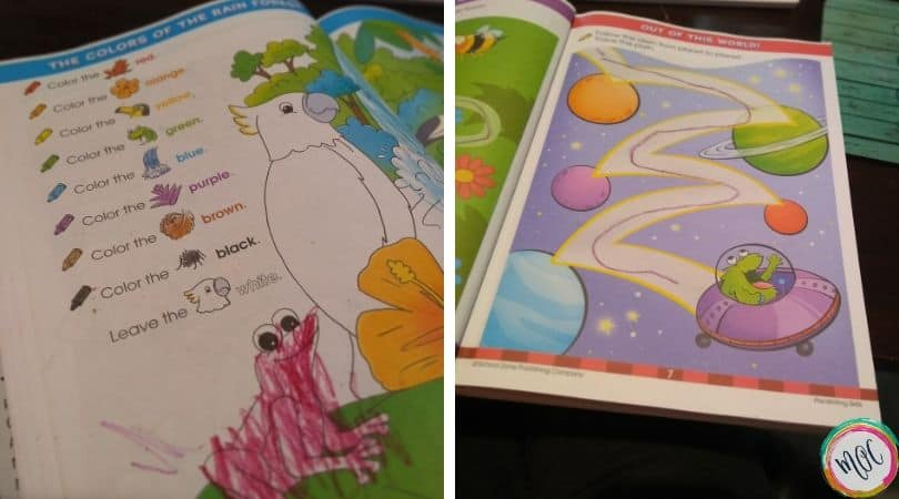 Learning colors and tracing pathways with the big preschool workbook