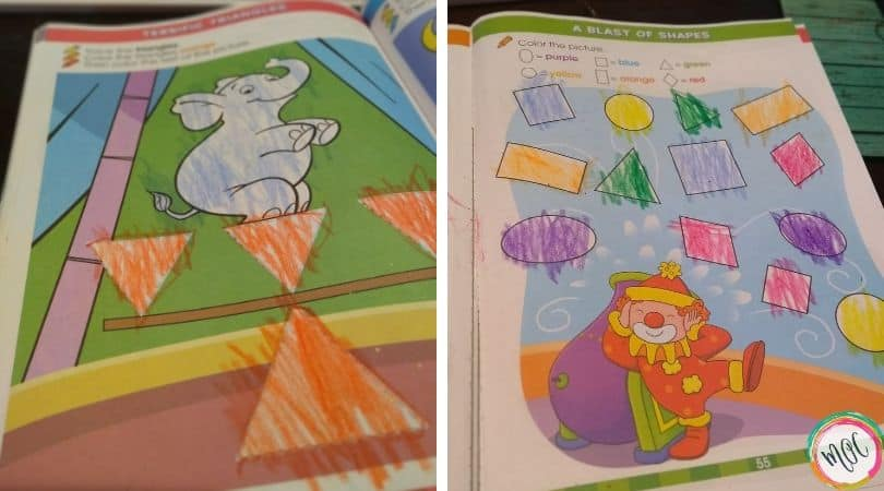 Learning colors and shapes with the big preschool workbook