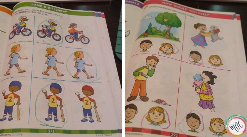 Identifying feelings with the big preschool workbook