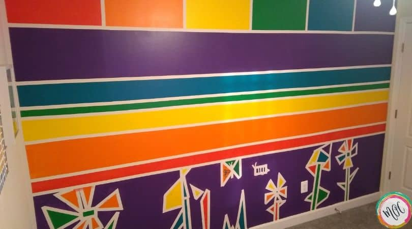 rainbow themed bedroom wall